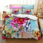 Flower Skull Duvet Cover Bedding Set