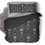 Skull Tiles Background Duvet Cover Bedding Set