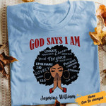 African Lady God Says I Am Unique Chosen Forgiven Precious Customizable Name T Shirt Hoodie Sweater