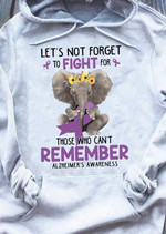 Alzheimer Prevention Let S Not Forget To Fight For Those Who Can T Remember Elephant Hug Ribbon T Shirt Hoodie Sweater