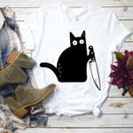 Black Cat With Knife Killer Halloween T Shirt Hoodie Sweater