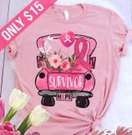 Breast Cancer Survivor Hope Butterfly Flower T Shirt Hoodie Sweater