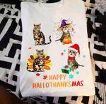 Cat Happy Hallothanksmas T Shirt Hoodie Sweater