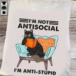 Cat I M Not Antisocial I M Anti Stupid Book Lovers T Shirt Hoodie Sweater