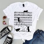 Cat Playing With Music Sheet Cute Silhouette Style For Cat Lover T Shirt Hoodie Sweater