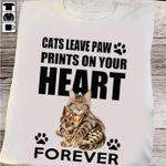 Cats Leave Paw Prints On Your Heart Forever For Cat Lover T Shirt Hoodie Sweater