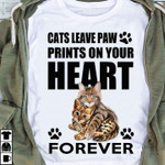 Cats Leave Paw Prints On Your Heart Forever For Lovers T Shirt Hoodie Sweater