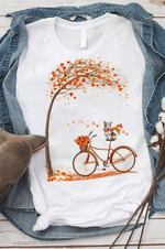 Corgi Riding Bike In Autumn Season T Shirt Hoodie Sweater