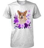 Corgi Purple Flower T Shirt Hoodie Sweater