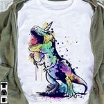 Cute Unicorn Dinosaur Water Color For Lovers T Shirt Hoodie Sweater