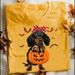 Dachshund Hold Jack O Lantern In Mouth Halloween For Fan T Shirt Hoodie Sweater