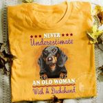 Dachshund Never Underestimate An Old Woman With A Dachshund T Shirt Hoodie Sweater Sweater