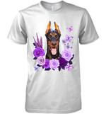 Doberman Pinscher Purple Flower T Shirt Hoodie Sweater