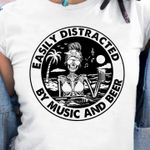 Easily Distracted By Music And Beer Skeleton Girl On The Beach Drinking Beer T Shirt Hoodie Sweater