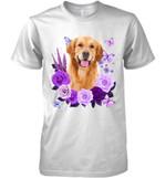 Golden Retriever Purple Flower T Shirt Hoodie Sweater