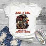 Halloween Just A Girl Who Loves Horror Movies Jason Pennywise T Shirt Hoodie Sweater