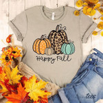 Happy Fall Pumpkins Leopard For Lovers T Shirt Hoodie Sweater