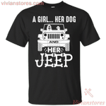 A Girl Her Dog and Her Jeep Funny T-Shirt-Vivianstores