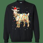 Christmas Lights Goat Wearing Santa Hat Funny Xmas Sweatshirt