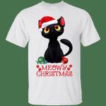 Black Cat Meowy This is My Pajama Christmas Light color T-Shirt-Vivianstores