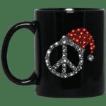 Peace Sign Santa Hat Hippie Christmas Mug-Vivianstores