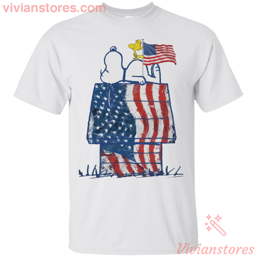 Snoopy Sleeping In USA Flag Doghouse Funny T-Shirt-Vivianstores