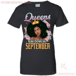 Floral Black Queen Are Born In September Birthday Gift Tee For Woman TT03-Vivianstores