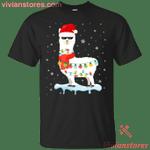 Llama Christmas Lights Santa Hat Ugly Xmas T-Shirt