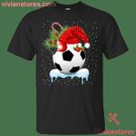 Soccer Ball Santa Hat Lights Snow Christmas Holiday T-Shirt