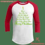 Christmas Tree Quotes Raglan Sleeve Shirt I Love You My Sis Merry Xmas