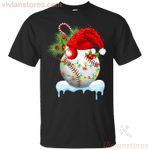 Softball Santa Hat Lights Snow Christmas Holiday T-Shirt