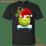 Tennis Ball Santa Hat Lights Snow Christmas Holiday T-Shirt