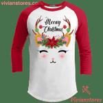 Meowy Christmas Cat Reindeer Ragland Sleeve Shirt Xmas Holiday