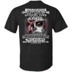 Don't Touch My Spoiled Wife Born In April Print On Back T-Shirt