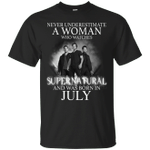 Never Underestimate A July Woman Who Watches To Supernatural T-Shirt