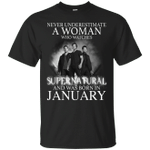 Never Underestimate A January Woman Who Watches To Supernatural T-Shirt