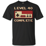 Level 40 Complete 40th Birthday Video Gamer Gaming Vintage T-Shirt