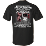 Don't Touch My Spoiled Wife Born In August Print On Back T-Shirt
