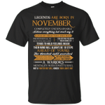 Legends Are Born In November Vintage Perfectly T-Shirt