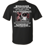 Don't Touch My Spoiled Wife Born In November Print On Back T-Shirt