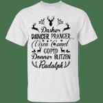 Dasher Dancer Prancer Vixen Camel Cupid Donner Blitzen Rudolph T-Shirt