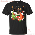 Cute Doberman In Christmas Sock Funny Merry Xmas T-Shirt