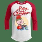 Merry Christmas Raglan Sleeve Shirt Pig Cooking For Xmas Party-Vivianstores