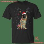 German Shepherd Santa Lights Christmas Dog Xmas T-Shirt