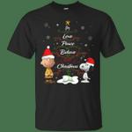 Snoopy & Peanut - Joy Love Peace Believe Merry Christmas T-Shirt-Vivianstores