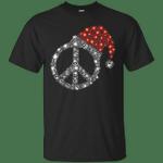 Sparkle Peace Sign Hippie Christmas T-Shirt