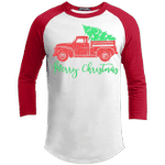 Merry Christmas Ragland Sleeve Shirt Old Truck Funny Xmas Gift Idea-Vivianstores