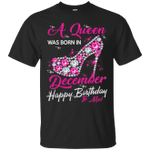 Diamond Queen Was Born In December T-Shirt Happy Birthday To Me-Vivianstores