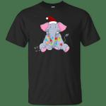 Cute Elephant Santa With Christmas Light Merry Christmas T-Shirt-Vivianstores