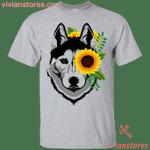 Husky Sunflower T-Shirt-Vivianstores